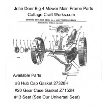 J.D. Big 4 Mower Main Frame Replacement Gasket Parts