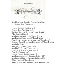 New Idea No. 17 Spreader Axle & Wheel Parts