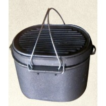 Flat Bottom 10 Qt Cast Iron Oval Roaster