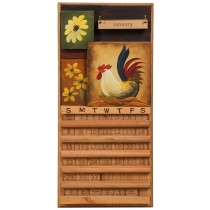 Perpetual Calendar Rooster & Flowers Theme