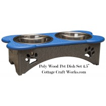 Small Poly Wood Pet Dish Set
