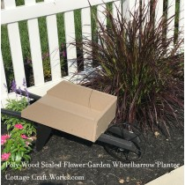 Small Poly Wood Flower Garden Planter Wheelbarrow