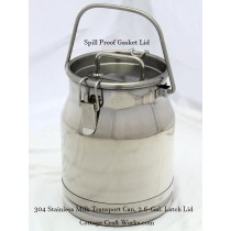 Stainless 2.6-Gal Milk Transport, Collection Can