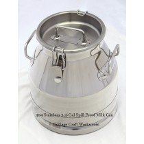 Stainless 5.3-Gal Milk Transport, Collection Can