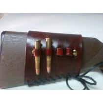 Gun Leather Fancy Tooled Butt Stock Ammo Carrier