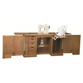 Compact Sewing Machine Cabinet, Amish Solid Wood