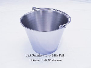 Made In The USA 304 Stainless 16-qt Milking Pail
