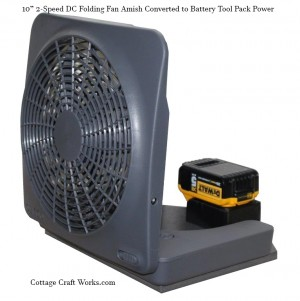 "Portable Tool Battery Pack DC 10"" Folding Fan"