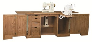 Amish Furniture - Sewing Machine Deluxe Cabinet Machines Up