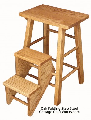 Folding Step Stool Oak
