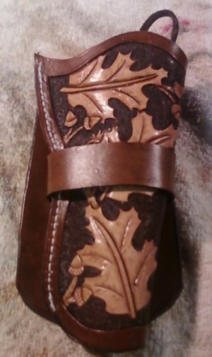 45 Cal. Leather Fancy Tooled Pistol Holster | Leather Holsters