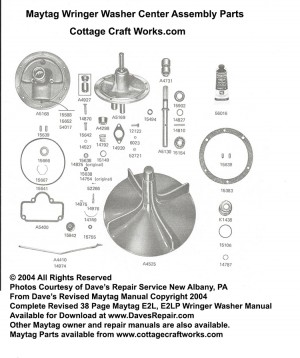 Maytag Wringer Washer Center Assembly Parts