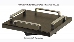 Modern contemporary Lazy Susan & nickel finish side rails