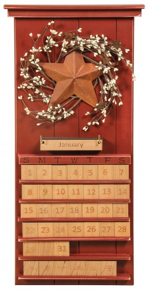 Perpetual Calendar Stars & Berries Red