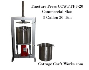 Tincture Press, 3-gal, 20-Ton, Oil, Herb, Press