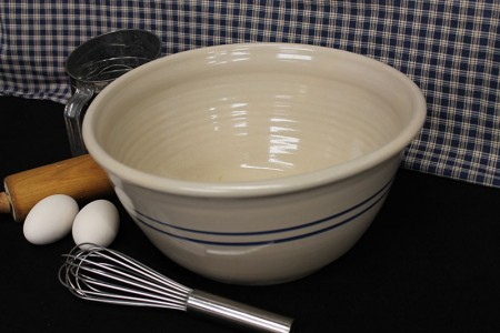 USA Stoneware Pottery | 16 Inch Large  Deep Bowl  | Blue Stripe